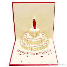 new arrive handmade kirigami festival birthday cake with candles
