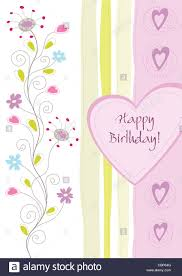 happy birthday flowers and swirls pastel colours greeting card