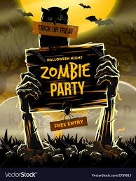 halloween invitation to zombie party royalty free vector