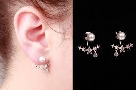 sided earrings gold pearl flower ear jackets earrings ear jacket