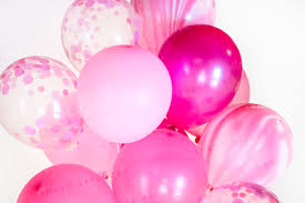 raspberry confetti balloon bouquet dot marble party baby