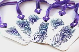 Wedding Wish Tags Purple Peacock Feather Tags Peacock Wedding Wish Tags Gift