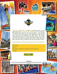 Coupons For Six Flags Six Flags Great Adventure Exclusive Discount Ticket Offer Tag Em