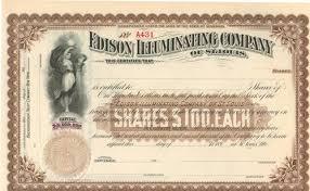 edison illuminating company battery company stock certificate 1890 s
