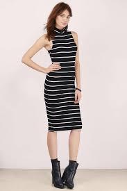 black and white dresses black and white dress mock neck dress midi stripe dress