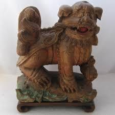lion foo dog antique carved wood foo dog shi shi lion w cub from