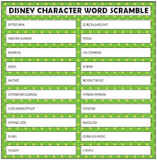 disney word scramble free printable character words free