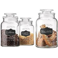 kitchen jars and canisters amazon com anchor hocking 3 glass cracker jar canister set