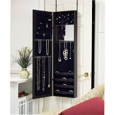 Anti Tarnish Jewelry Armoire Wooden Over The Door Wall Mount Jewelry Armoire Cabinet With