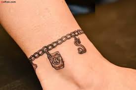realistic bracelet chain tattoo on ankle golfian com