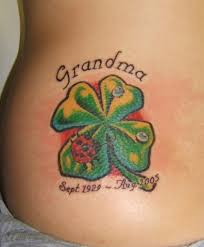 Ladybug And Flower Tattoos - beautiful ideas for clover and shamrock tattoos