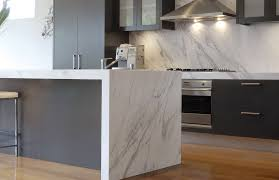 furniture white kitchen island with waterfall countertop and