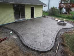Outdoor Patio Landscaping Cozy Look Stamped Concrete Patio Pattern With Colors Option