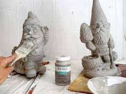 faux cement and moss painted garden gnomes stow tellu
