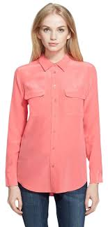 equipment signature blouse equipment watermelon silk slim signature shirt pink blouse