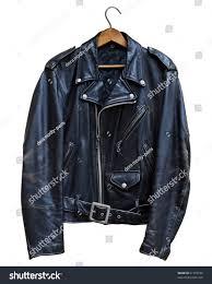 black leather biker jacket vintage black leather biker jacket isolated stock photo 51793186