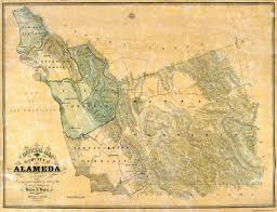 California Missions Map Old County Map Alameda California 1857