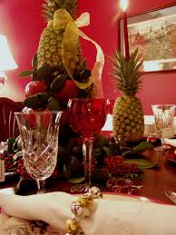 williamsburg christmas table setting with apple tree centerpiece