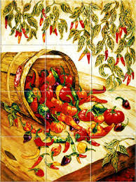 mexican home decor peppers kitchen backsplash tiles murals