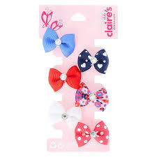 claires hair accessories kids 6 pack glass stoned centre bow hair s