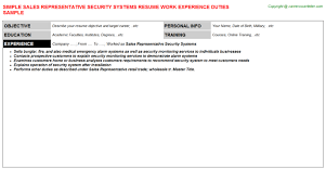 sales representative security systems resume sample