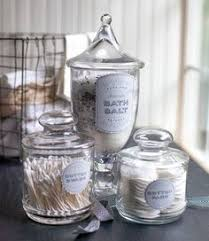 Bathroom Glass Storage Jars Glass Canisters Set Of Three In Bath Accessories Crate And