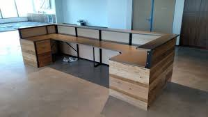 Custom Made Reception Desk Hand Made Contemporary Reclaimed Wood And Steel Reception Desk By