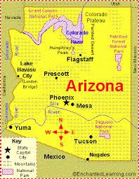 map of az arizona facts map and state symbols enchantedlearning