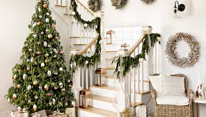 Banister Christmas Garland Christmas Decorating For Staircases
