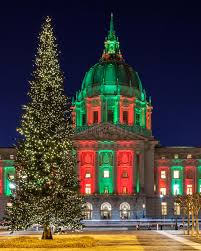 christmas lights san francisco christmas tree at san francisco city hall stock photo image of