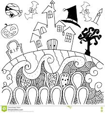 Halloween Drawing Doodle Art Halloween Castle Stock Vector Image 73569153