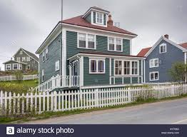 historic trinity salt box houses newfoundland stock photo