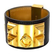 bracelet cuff leather images Hermes black and gold collier de chien cdc cuff bracelet sz s for jpg