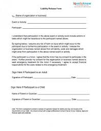 Waiver Template For Liability printable sle release and waiver of liability agreement form