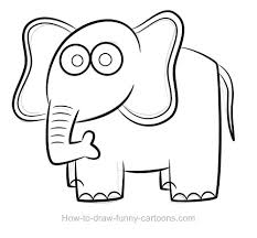 drawn elephant outline drawing pencil and in color drawn