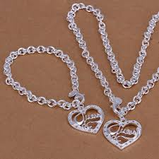 fashion bracelet sets images 925 silver solid ladies heart jewelry set fashion necklace jpg