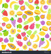 vector pattern colored hand drawn fruit stock vector 591419681