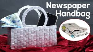 best out of waste newspaper craft how to make a handbag purse