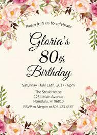 80th birthday invitations 80th birthday invitations for women floral birthday invitation