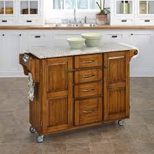 home styles large kitchen cart white black granite top