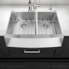 16 Gauge Kitchen Sink by Vigo Alma 36 Inch Farmhouse Apron 60 40 Double Bowl 16 Gauge