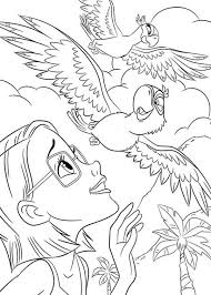 linda watching blu fly jewel rio movie coloring pages