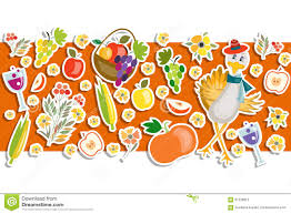 thanksgiving fruit basket flat design style happy thanksgiving day background stock vector