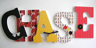 Letter Home Decor by Custom Decorated Wooden Letters Mickey Mouse Theme Nursery