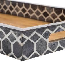 grey bone inlay tray handmade in india global goods partners