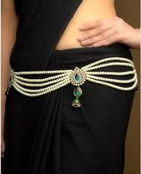 pearl tasseled sari belt with layered jhumki drop indian and