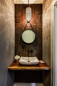 small round mirrors with skylight bathroom contemporary and