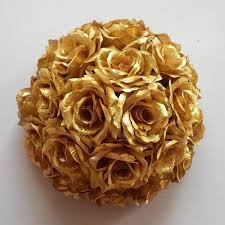 Gold Rose Free Ems Shipping 2pcs 20inch 50cm Gold Silver Dense Artificial
