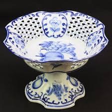 white fruit bowl sculpture court fruit bowl blue and white european style retro