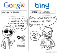 Search History Meme - google vs bing s search results for history of arcade by owlturd